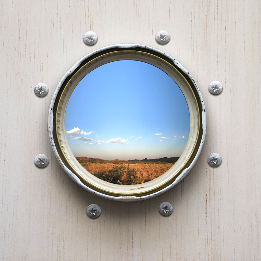 Conceptual art by Karina Sharpe of a porthole to the Plains