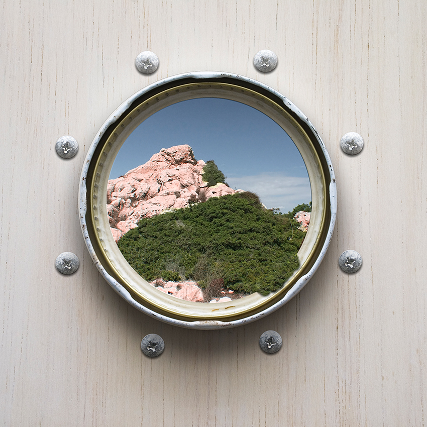 Conceptual art by Karina Sharpe of a porthole to the mountains