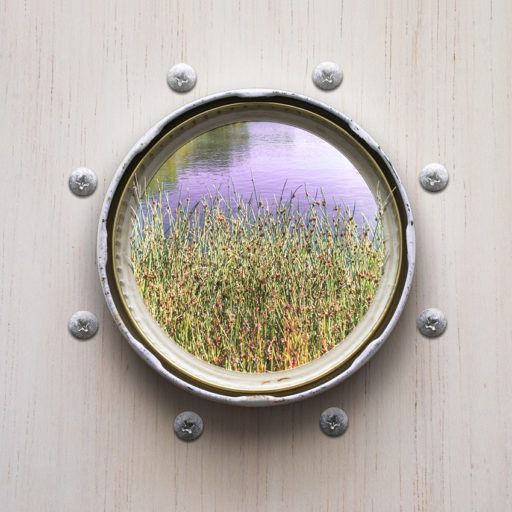 Conceptual art by Karina Sharpe of a porthole to the riverside