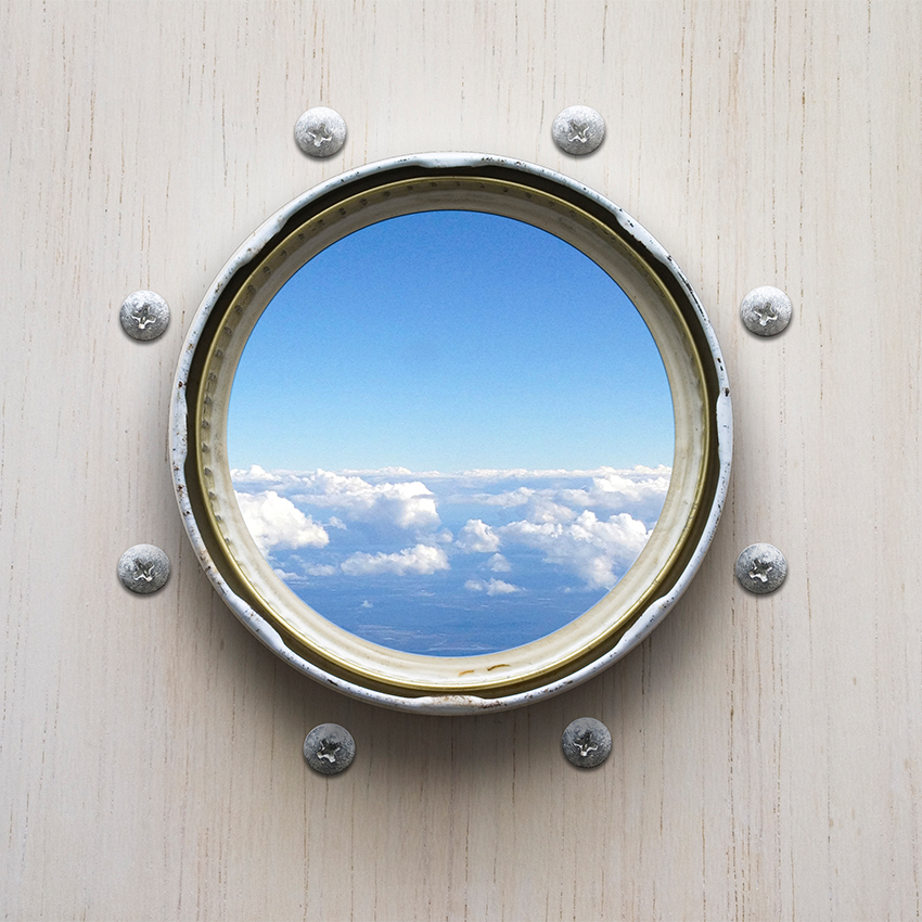 Conceptual art by Karina Sharpe of a porthole to the sky
