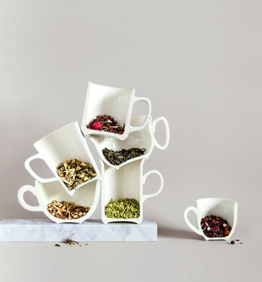 Stacks of tea - stacks of tea cups - conceptual still life by Karina Sharpe for The Rabbit hole