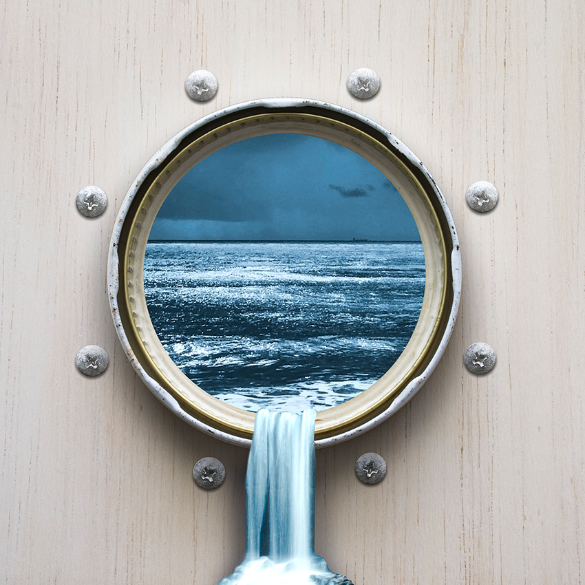 Conceptual art by Karina Sharpe of a porthole to the ocean