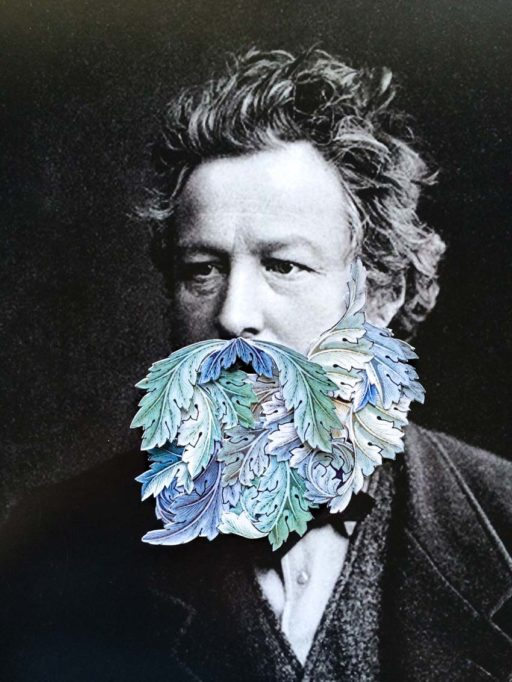 Portrait collage of William Morris by Karina Sharpe, for the book The Maker by Tamara Maynes