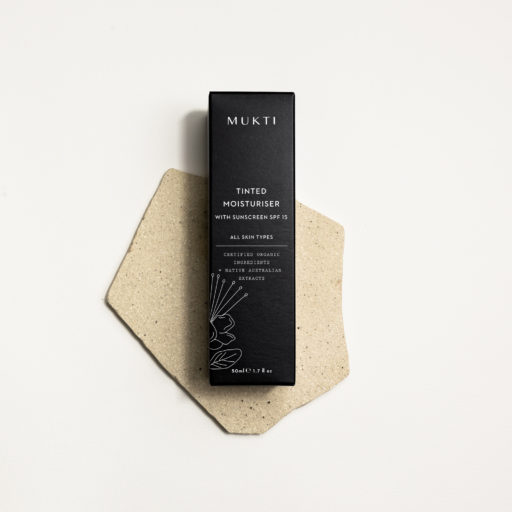 Mukti Organics tinted moisturiser box as photographed by Karina Sharpe for Mukti Organics